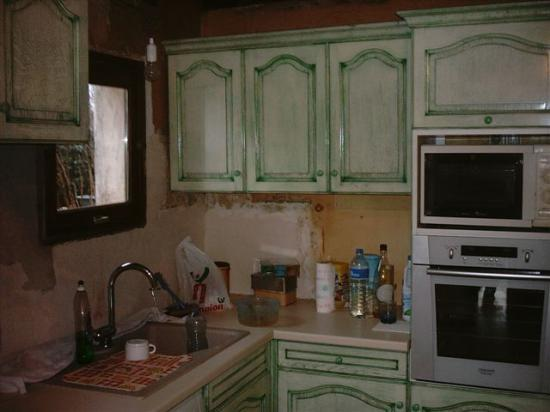 cuisine chêne patiné vert